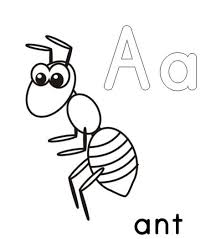 A For Ant Alphabet Coloring Pages Printable