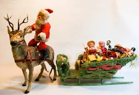 1910 Santa Claus Store Display It Is Made In Germany Measures Over 24 Long And 16 Tall The Sleigh Filled With Vintage Toys From 1920 1930s
