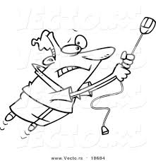 Vector Of A Cartoon Man Swinging On High Speed Internet Computer Mouse