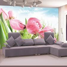 Elegant Pink Tulip Photo Wallpaper Flower Wall Mural Custom