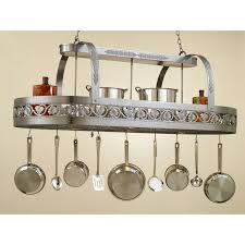 appealing kitchen pot rack with lights features brown metal