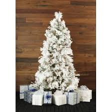 Snowy Pine 10 White Aritificial Christmas Tree With 1050 Smart String Lighting Stand And Flocked Branches