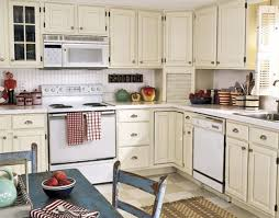 Kitchen Shabby Chic Decorating Ideas Small Kitchens On A Budget With Beige Cabinet And Stand White Oven Stove Simple Ceramic Tile Floor