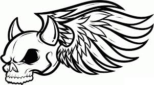 Skull Coloring Pages With Wing