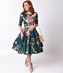 1950s style dresses pinup dresses swing dresses swings floral