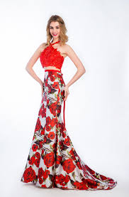 2016 two piece floral printed evening dresses red lace appliques