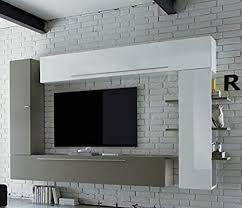 le chic moderne wohnwand ausgesetzt taupe und weiß glänzend