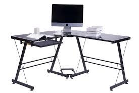 Black Glass Corner Computer Desk by Merax Modern Office Computer Desk Corner Desk With Tempered Safety