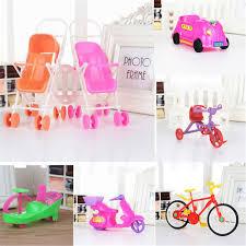 Dollhouse Miniature Furniture Plastic Stroller Bike Car For Barbie