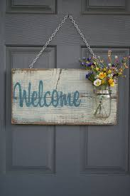 Rustic Outdoor Welcome Sign In Blue White
