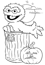 Oscar Halloween Printable Coloring Sheet Sesame Street