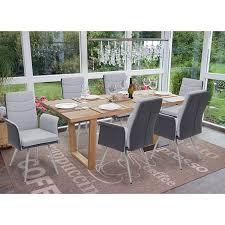 6x esszimmerstuhl mcw g54 küchenstuhl stuhl textil kunstleder edelstahl gebürstet grau mit armlehne
