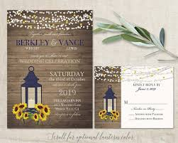 Sunflower Wedding Invitation Rustic Lantern Country Wedding