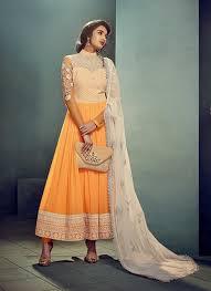 Orange Designer Wear Indian Anarkali Frock In Chiffon F16036