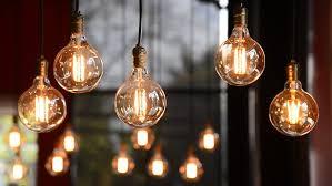 decorative antique edison style filament light bulbs hanging on