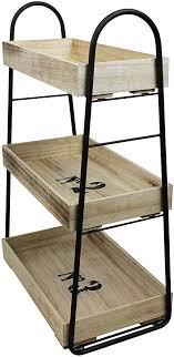 wohaga kleines regal mit rollen und 3 ebenen 42x25x66cm rollregal holzregal küchenregal beistellwagen für bad büro haushalt
