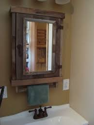 Hickory Medicine Cabinet With Mirror Bathroom Rustic Wooden Framed Recessed Door