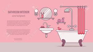 bad ausrüstung bunte konzept karte oder plakat vorlage mit flachen umriss symbole der spiegel bad wc waschbecken dusche vektor illustration für