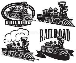 Download Set Of Vector Logo In Vintage Style With Locomotives Emblems Labels Badges