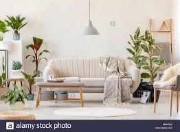 decke auf beige sofa unter grau le in floralen wohnzimmer