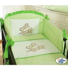 tour de lit bebe garon pas cher tour de lit bébé pas cher fille garçon vert avec broderie ours câ
