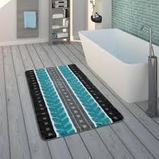 badezimmer teppich streifen muster grau blau