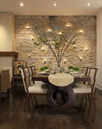 Candles Highlight The Beauty Of Stone Wall In Dining Room