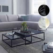 finebuy design couchtisch 2er set marmor optik eckig couchtische 2 teilig tischgestell metall edle wohnzimmertische moderne satztische
