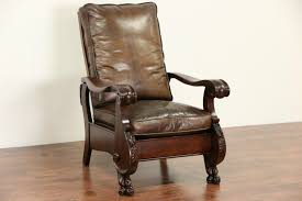SOLD Oak 1900 Antique Morris Recliner Chair Leather White ... Antique Wooden Chairs Timothykparkcom Dragon Chairs 97 For Sale On 1stdibs Antique Rocking Chair With Tooled Leather Seat Collectors Tips On Checking Rocking Chair With Leather Seat Image And Big Cedar Rocker 19th Century 91 At Attractive Oak Home And Vintage Bentwood By Thonet Best Recliner Used For Chairish