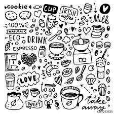 Coffee Doodle Set Cute And Desserts Food Illustrations