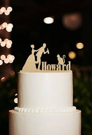 Funny Wedding Decoration Cake Topper Bride And Groom Toppers With Last Name Cat