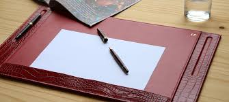 Leather Desk Blotters Uk by Leather Desk Pad With 2 Pen Stands