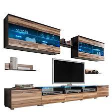 wohnwand anbauwand cama i modernes wohnzimmerschrank tv lowboard vitrine wandregal design mediawand wohnzimmer set mit blauer led beleuchtung