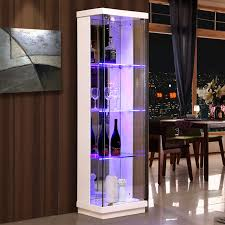 Simple Modern Glass Wine Cabinet Corner Home Side Bar Dining Living Room Decorative Paint White