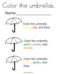 Color The Umbrellas Coloring Page