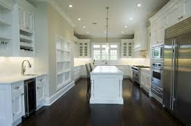 Modern Concept Dark Wood Floors In White Cabinets With Transitional