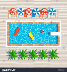 Swimming Pool Top View With Umbrellas Palm Trees Loungers