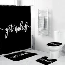 sie nackt badezimmer dusche vorhang mit matte sets brief drucken 4 stück set nicht slip teppich wc abdeckung bad matte pad