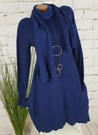 Neu A Form Strick Tunika Kleid Pulli 20 Cashm Butterweich Schal Blau 36