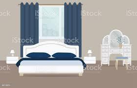 schlafzimmer in eine blaue farbe stock vektor und mehr bilder behaglich