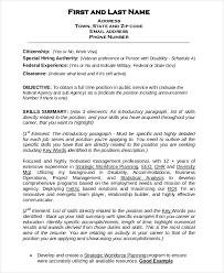 Federal Resume Template Sample