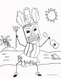 Tiki Hot Dog With Ukulele Coloring Page Best Solutions Of Hawaii Volcano Pages