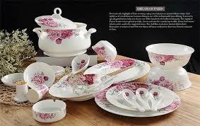 58pcs Lot Floral Painting Real Bone China Dinnerware Sets Ceramic Chafing Dish