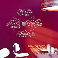 wandtattoo uhr spruch essens zeiten kaffee küche esszimmer wanduhr modern spruch