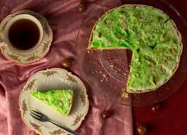 stachelbeer baiser kuchen mit vanillepudding