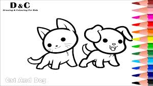 How To Colouring Pages Cat Dog Coloring Animals Learning Videos For Kids Colours Step By
