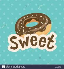 Sweet label with donut on polka dot background Vector illustration