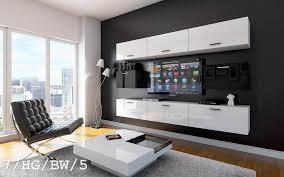 möbel für wohnzimmer schwarz weiß hochglanz future 7