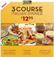 Olive Garden Dinner Deal 2013 3 Course Meal for $12 95