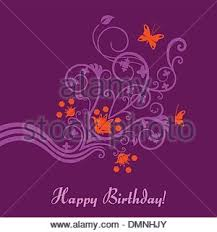 Purple and pink floral birthday card Stock